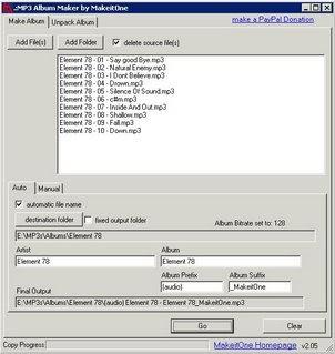 MakeitOne MP3 Album Maker recolle les mp3