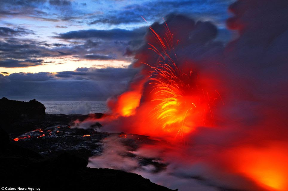 Fiery: Molten lava explodes in this long exposure shot