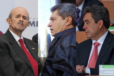 Los exgobernadores de Michoacán, Fausto Vallejo; de Tamaulipas, Tomás Yarrington, y de Coahuila, Jorge Torres. Fotos: Octavio Gómez y Miguel Dimayuga