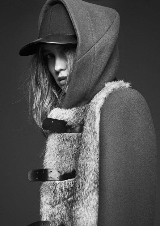 LE FASHION IMAGE SANDRO FW 2012 CAMPAIGN LOOKBOOK LEATHER BASEBALL CAP HAT FUR LINED VEST COAT NATURAL BEAUTY CLEAN CLASSIC 1