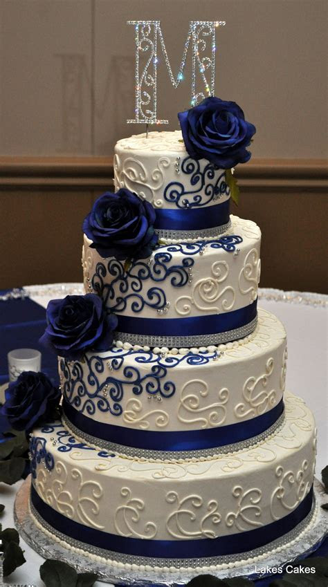 Navy blue, white and bling themed wedding cake   Lakes