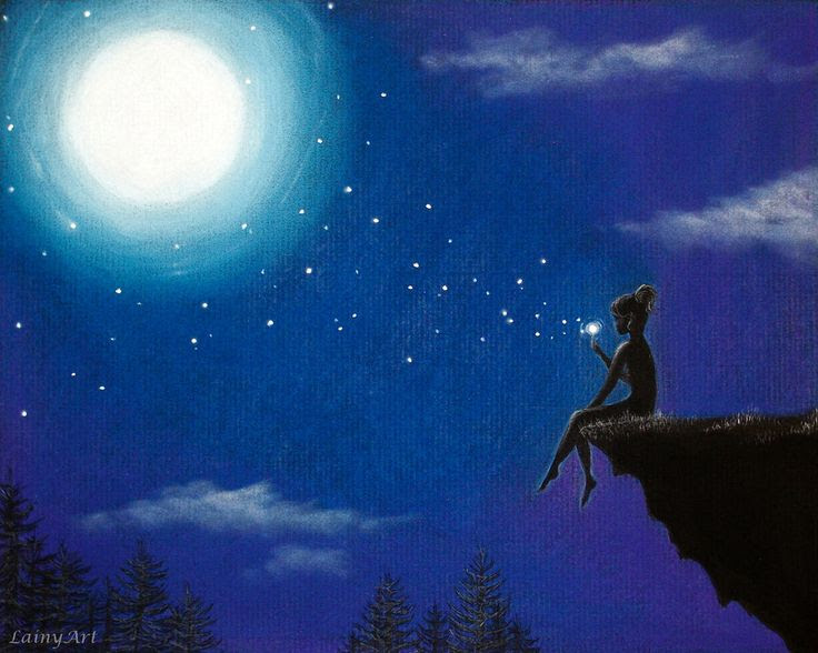 moon and star art - Get a custom picture of my kids with something like this?
