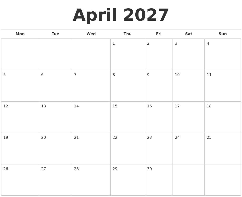 april 2027 calendars free monday start