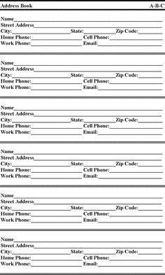 Printable Address Book Template, and more. | Printable Charts ...