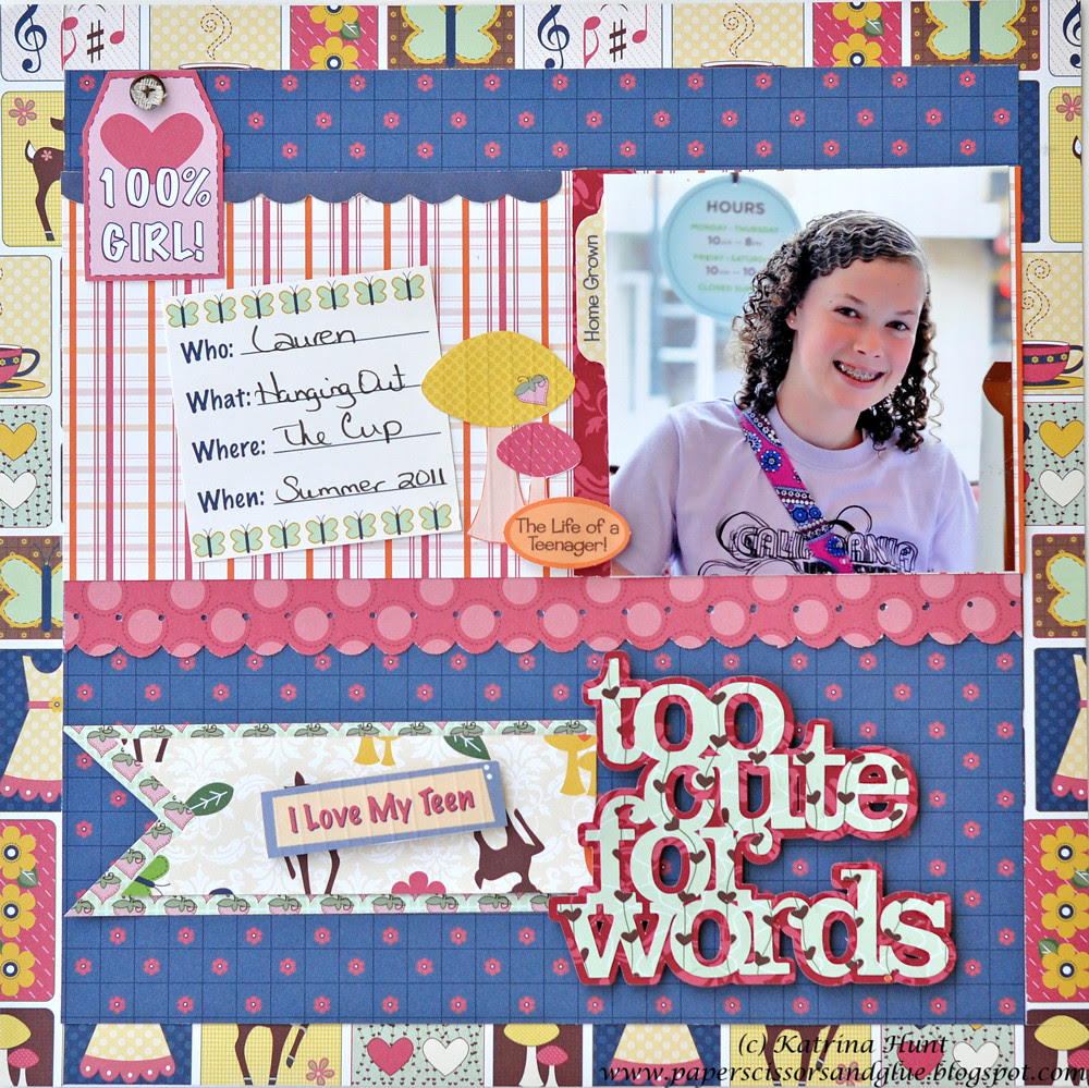 A Too Cute Layout using Glue Arts and Nikki Sivils!