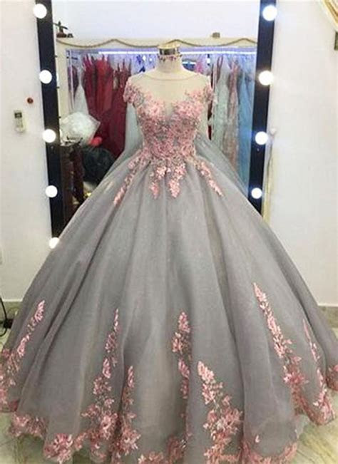 Unique Grey Long Ball Gown,Appliqued Cap Sleeves Prom