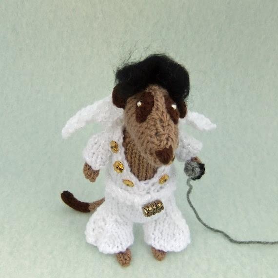 Elvis Presley Meerkat handknitted in 70s style white sparkly jumpsuit
