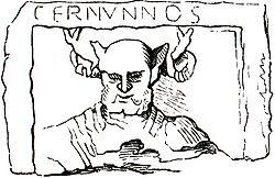 Esquema del relieve anterior con el grabado del nombre «CERNVNNOS»