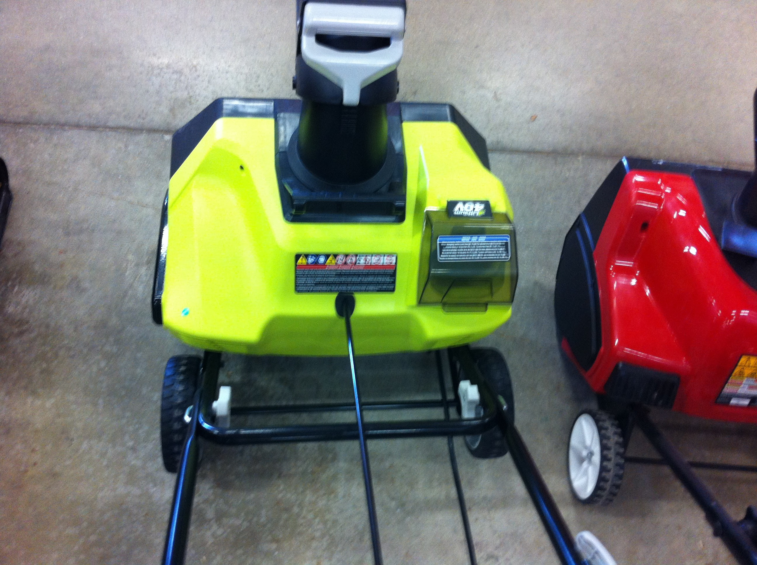 "New Ryobi Cordless 20 "" 40 Volt Snow Blower Spied At My Local Home"