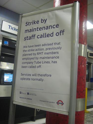 Tube Strike Called Off