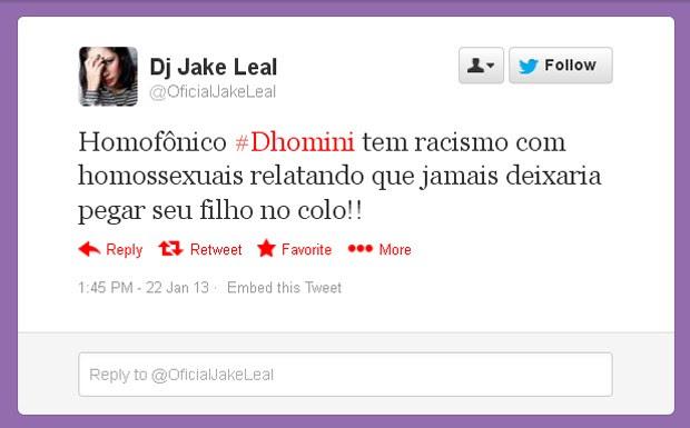 Jake Leal, ex-BBB, sobre Dhomini (Foto: Twitter/Reprodução)
