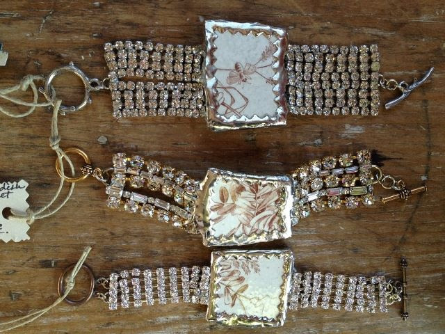 Broken dishes, brown transferware made into rhinestone bracelets.
