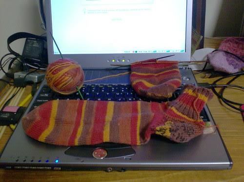 Pair of handknit men's socks