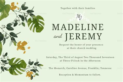 Church Wedding Invitation Design Template in PSD, Word