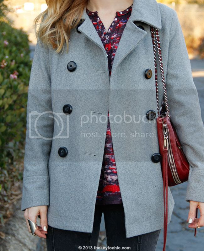 LA fashion blogger The Key To Chic wears an Isabel Marant for H&M bouse, Mossimo gray zip pocket skinny jeans, an Old Navy wool coat, and a Rebecca Minkoff Swing handbag