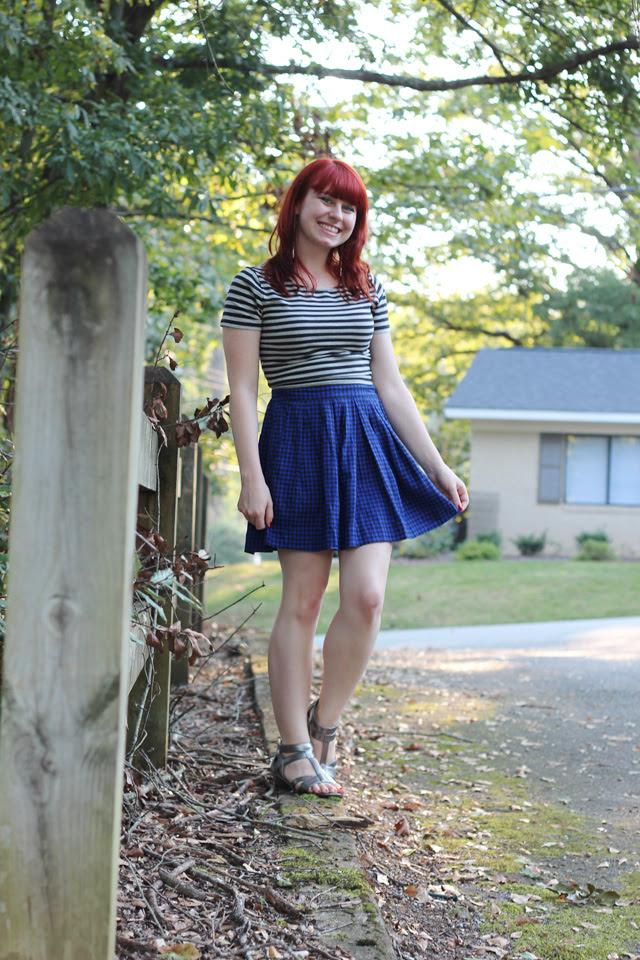 Houndstooth Skater Skirt, Striped Crop Top, Silver Sandals