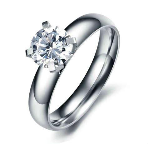 Stainless Steel  Women?s 7mm ROUND CZ ENGAGEMENT WEDDING
