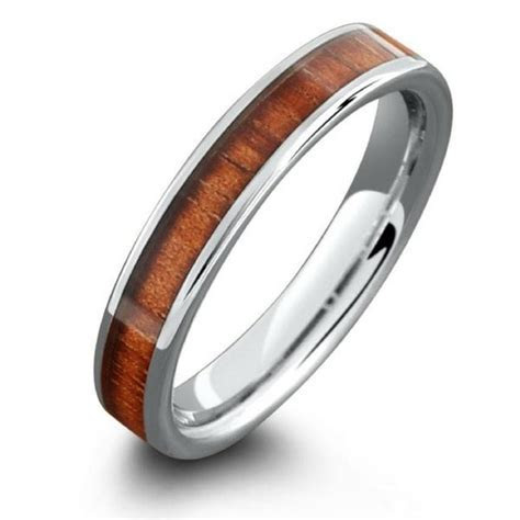 4mm Wood Wedding Band Made Out of Tungsten Carbide