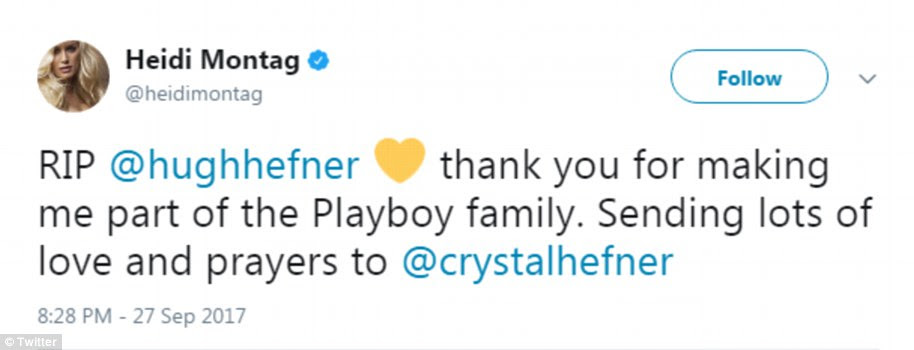The Hills alum Heidi Montag sent love and prayers to Hefner's widow Crystal