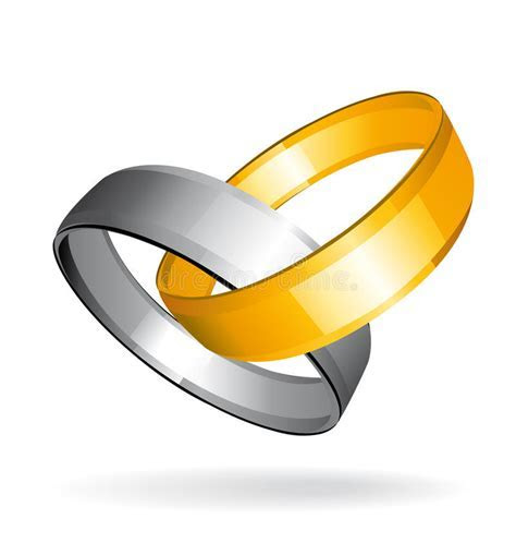 Two Gold And Silver Wedding Rings Stock Vector   Image