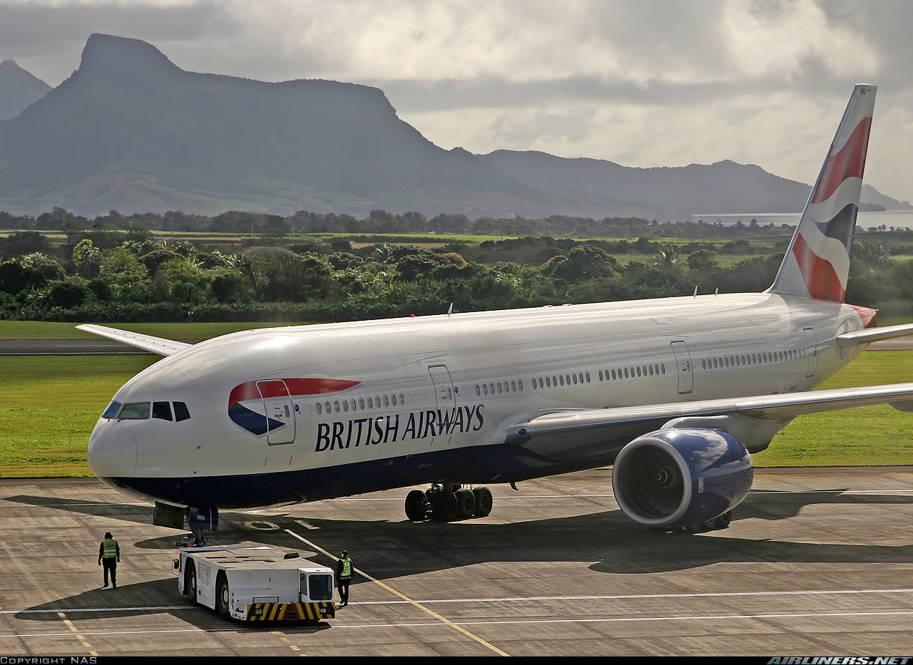 British Airways Boeing 777 in Mauritius