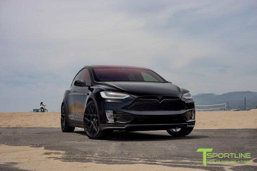 Black Tesla Model X With Matte Black 22 Inch Mx117 Forged Wheels 2 T Sportline Tesla Model S 3 X Y Accessories