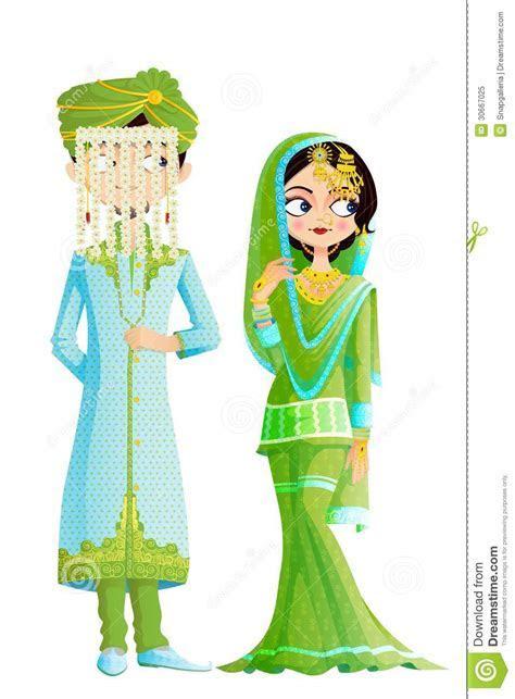 Muslim Wedding Couple Cartoon Vector   CartoonDealer.com