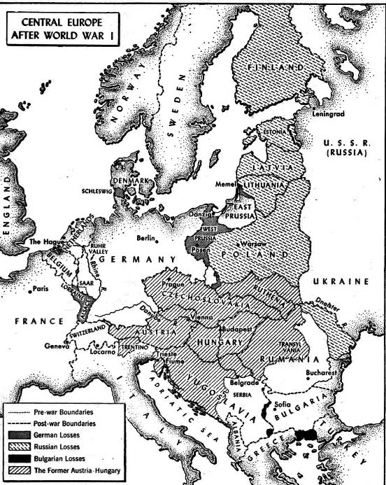 Maps Map Of Europe After Wwi - Germany map after ww1