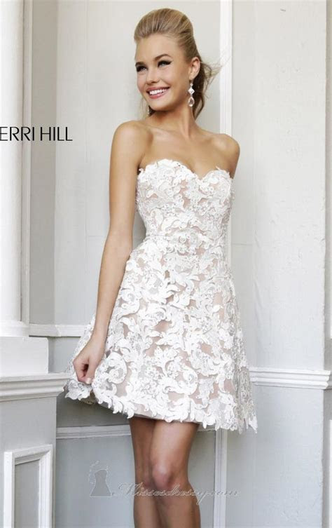Sherri Hill Beige/White Lace Overlay and Bling Feminine