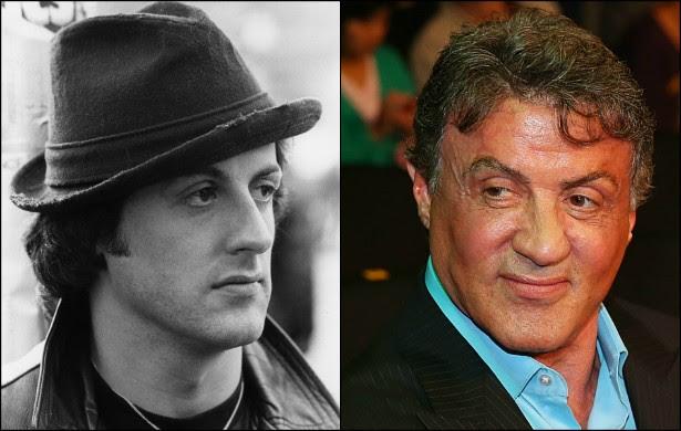 Inesquecível como Rambo e Rocky, Sylvester Stallone estava no auge na foto à esquerda, feita em 1980, quando ele tinha 34 anos. Atualmente, o nova-iorquino tem o dobro daquela idade: 68 anos. (Foto: Getty Images)