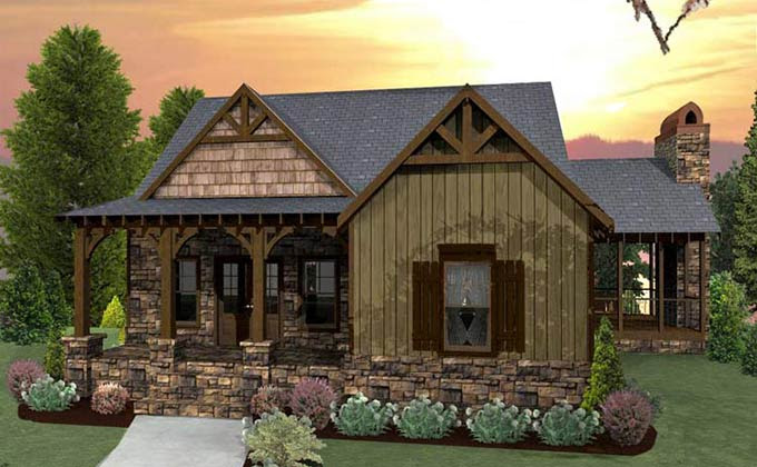 Small Craftsman Cottage House Plan with porches