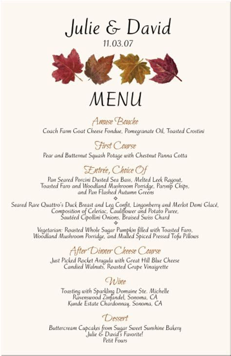 Autumn Wedding Program Fall Leaves Jewish Wedding Program