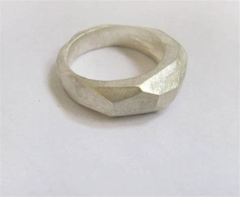 Men's ring, silver faceted ring, holiday gift, geometry