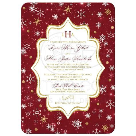 Monogrammed Wedding Invitation   Cranberry, Gold, White
