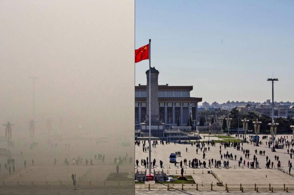 Consulta el antes y el después   de los niveles de polución en varios lugares emblemáticos de Pekín, en diciembre de 2015.