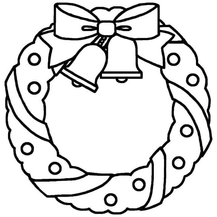 リース1白黒リースクリスマス無料イラスト素材