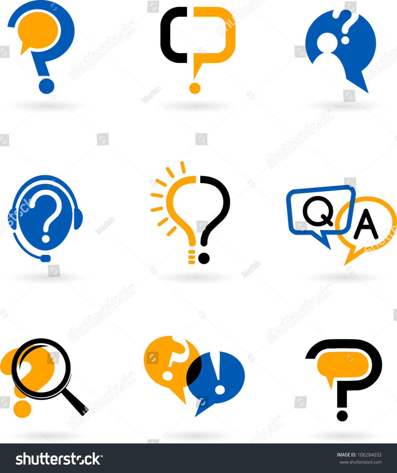 Set Of Question And Answer Vector Icons - 106284032 ...