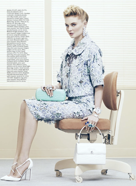 MARIE CLAIRE OFFICE SUPPLIES EDITORIAL LADY LIKE FIFTIES SIXTIES INSPIRED LACE EMBROIDERED GINGHAM PRINT HEELS JEWELS RINGS SKIRTS WATCHED PASTELS WHITE NAILS MANICURE LITTLE BAG WHITE PUMPS 5