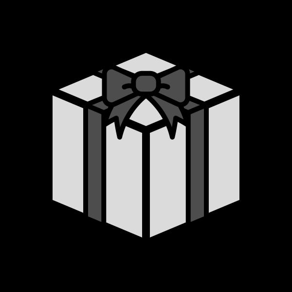 モノクロでかわいいプレゼントボックスの無料イラスト商用フリー
