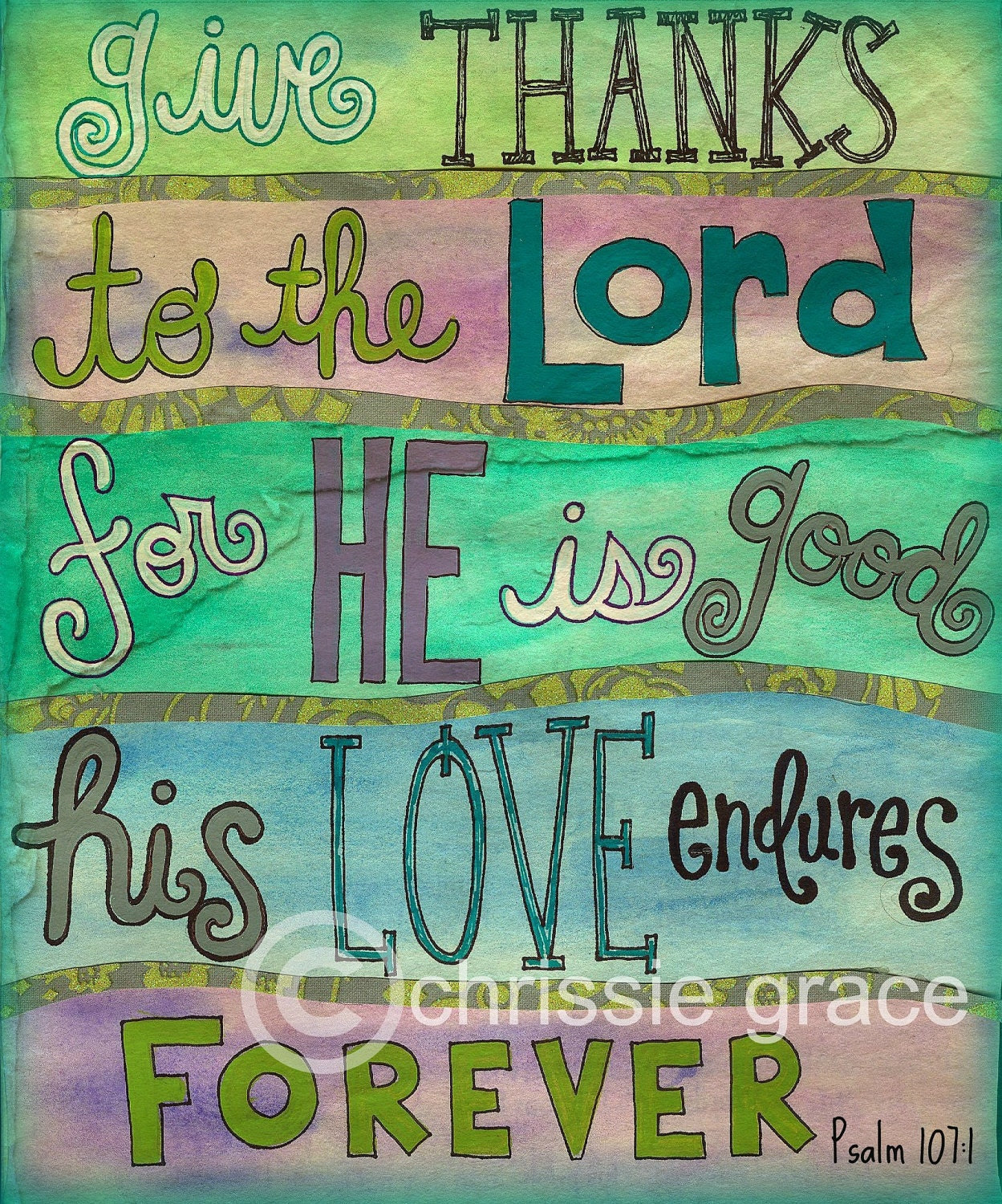 Psalm 107:1 by mixedmediamama on Etsy