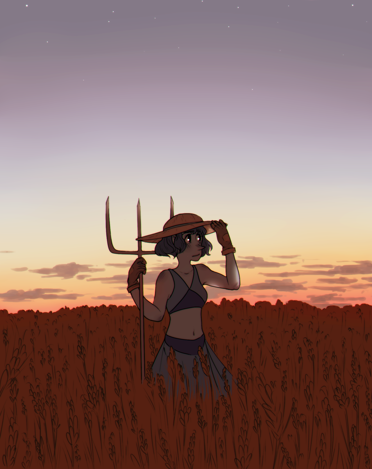 hello i don't know how to draw a wheatfield