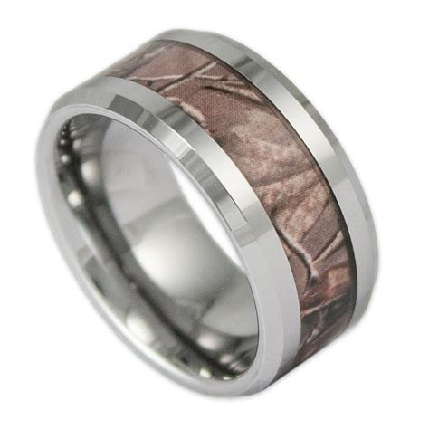 10MM Wide Men's Tree Camo Tungsten Ring Camouflage Wedding