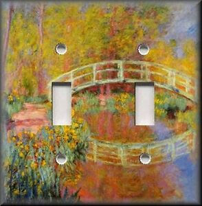 Light Switch Plate Cover  Monet Home Decor  Japanese Garden Bridge  Floral  eBay