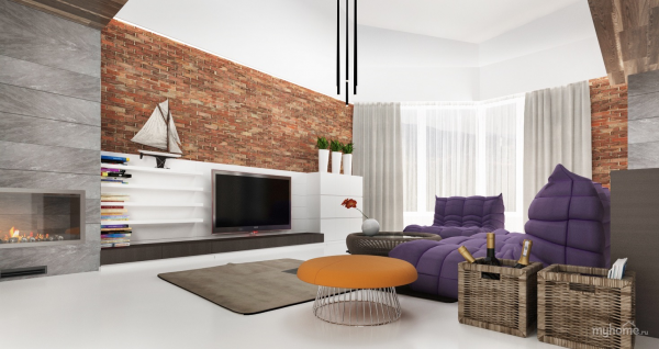 It's impossible to ifnore the pops of purple in this artsy living room with exposed brick.