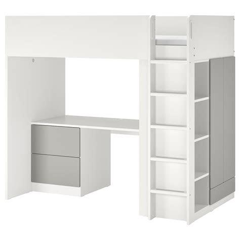 smastad letto  soppalco bianco grigiocon scrivania