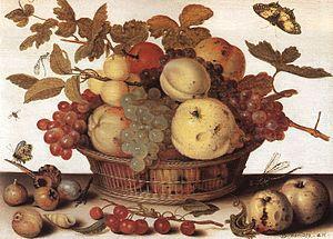 """Fruit Basket"", oil on wood"