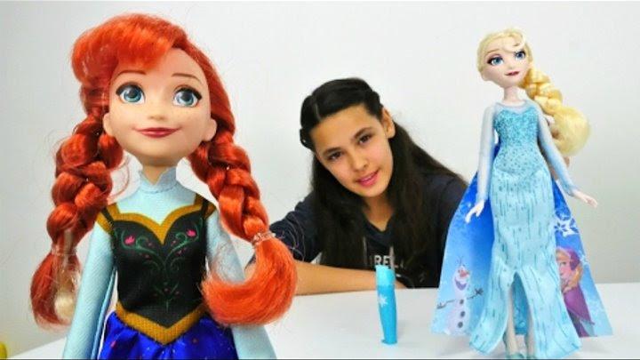 Karlar ülkesi Elsa Ve Anna Oyuncakları Tanıtıyoruz Elbise Boyama