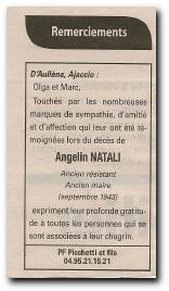 remerciements suite au décès d'Angelin Natali