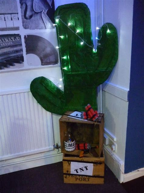 6 foot cardboard Cactus decoration old crates decorated as