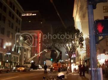 Spiderman 3 filming, north facing view on Main